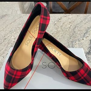 Red and black plaid shoes